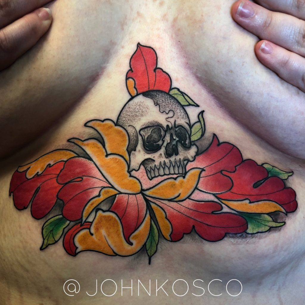 Pure Ink Tattoo - NJ - John Kosco - Skull Flower Sternum Tattoo