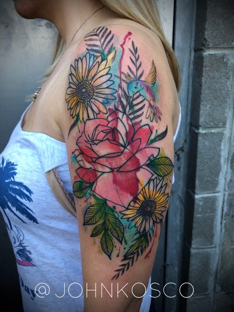 Pure Ink Tattoo - NJ - John Kosco - Flower Watercolor Tattoo