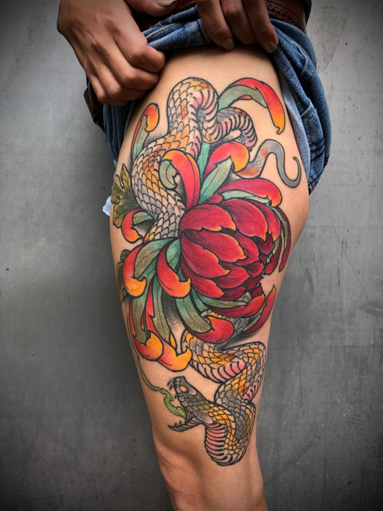 Pure Ink Tattoo - NJ - John Kosco - Flower Snake Tattoo
