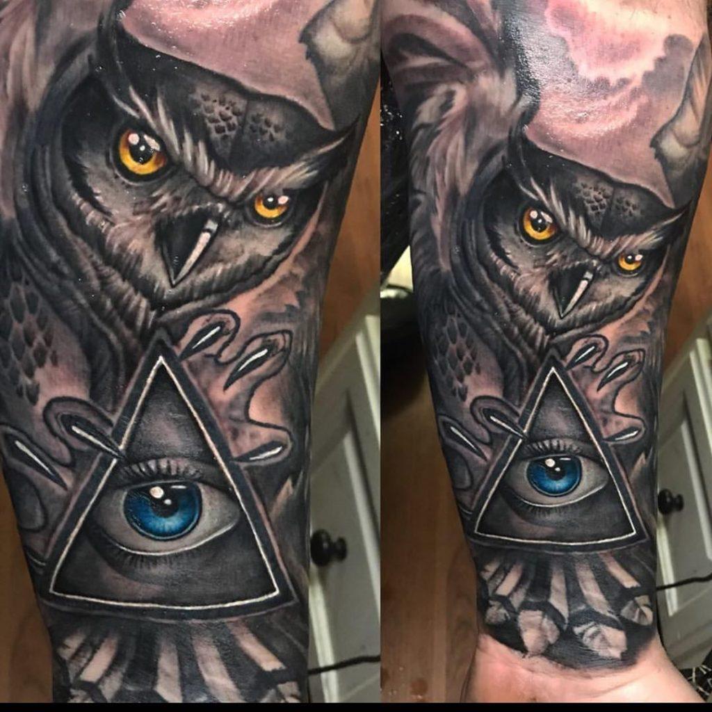 Pure Ink Tattoo - NJ - Ian Shafer - Black Grey Owl Eye Tattoo