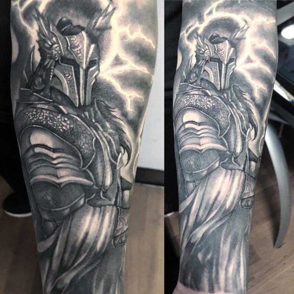 Pure Ink Tattoo - NJ - Ian Shafer - Black Grey Gladiator Warrior Tattoo