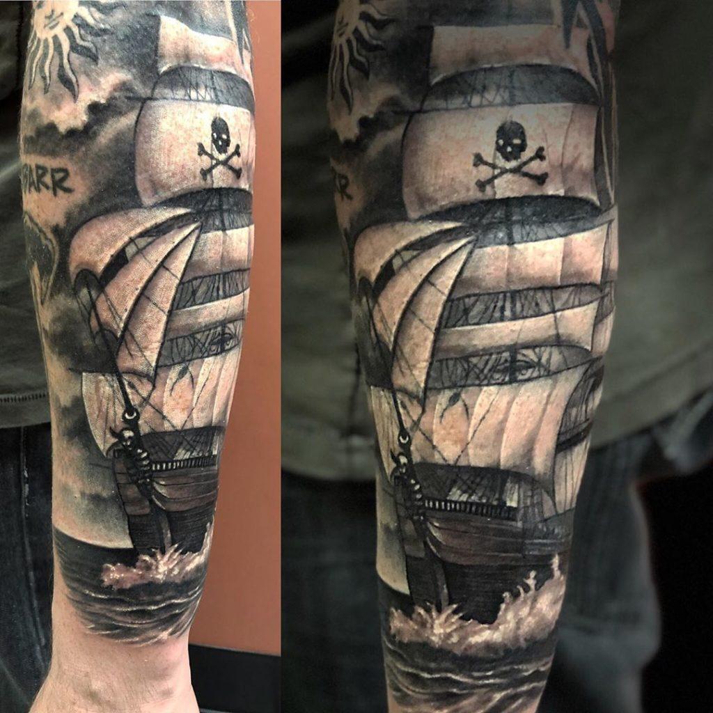 Pure Ink Tattoo - NJ - Ian Shafer - Black Grey Ship Tattoo