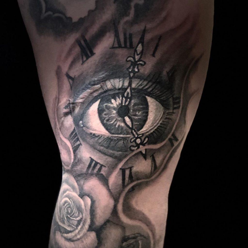Pure Ink Tattoo - NJ - Ian Shafer - Black Grey Eye Clock Tattoo
