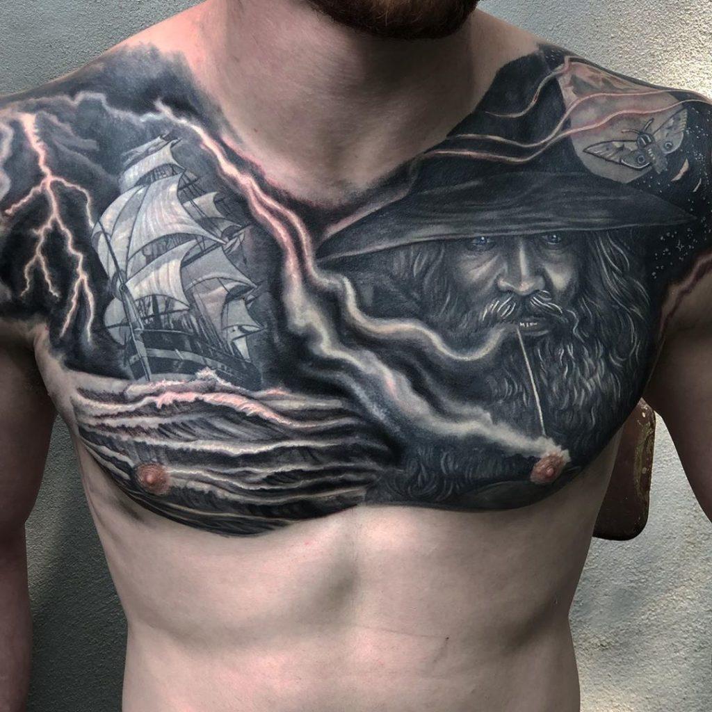 Pure Ink Tattoo - NJ - Ian Shafer - Black Grey Wizard Boat Tattoo