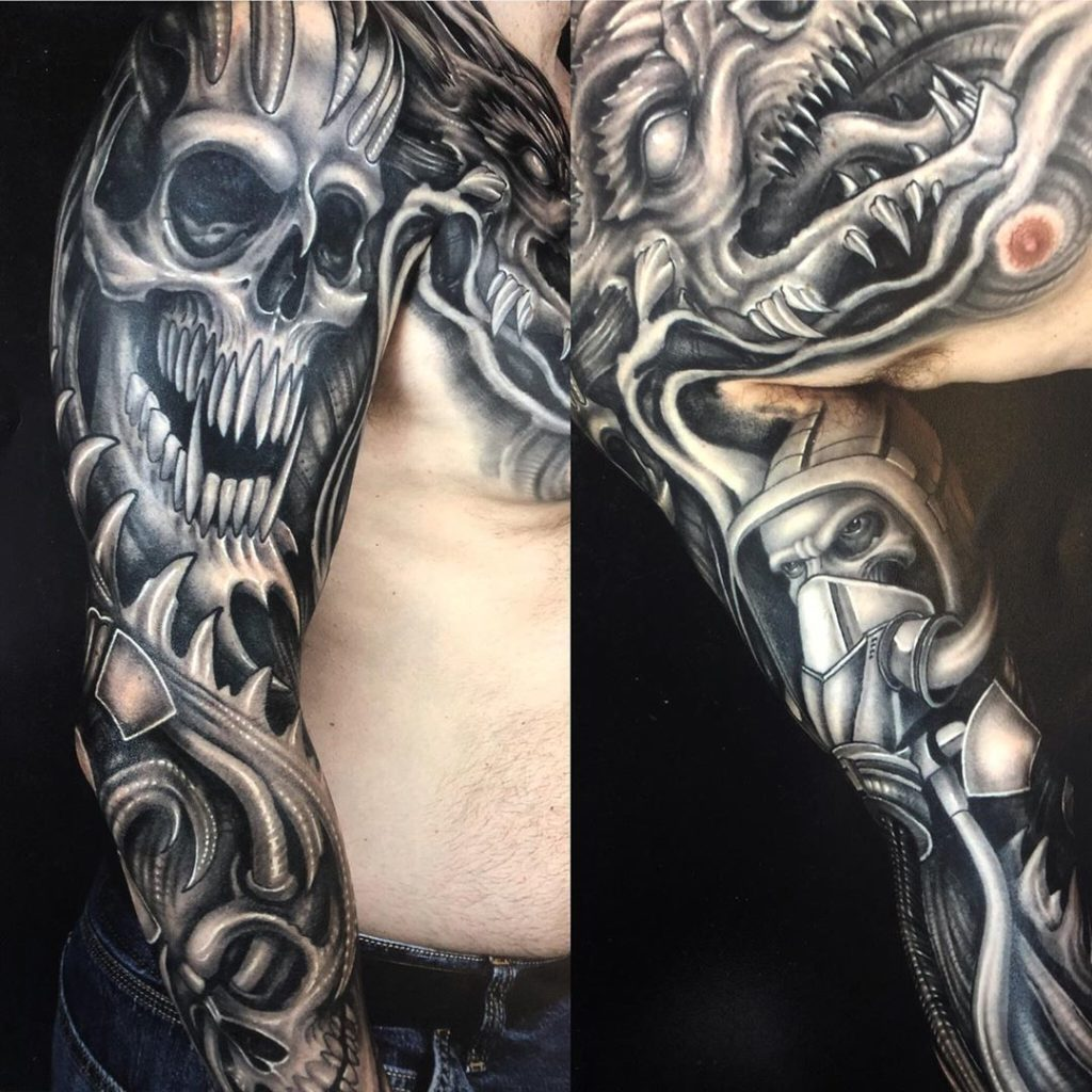 Pure Ink Tattoo - NJ - Ian Shafer - Black Grey Skull Bio Mech Tattoo
