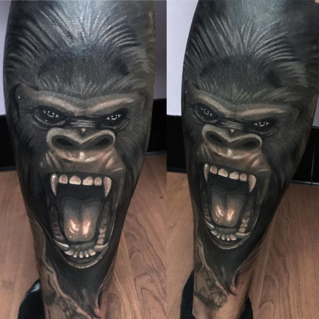 Pure Ink Tattoo - NJ - Ian Shafer - Black Grey Gorilla Tattoo