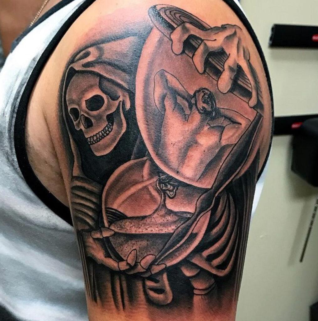 Pure Ink Tattoo - NJ - Tito Rodriguez - Skeleton Hour Glass Tattoo