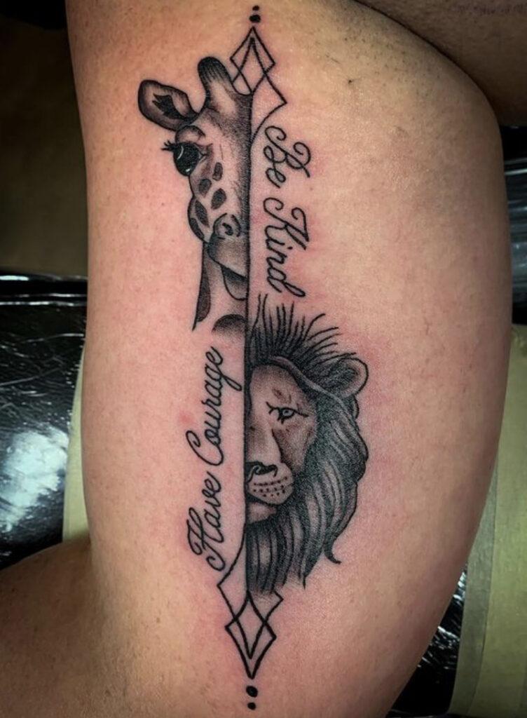 Pure Ink Tattoo - NJ - Tito Rodriguez - Lion Giraffe Tattoo